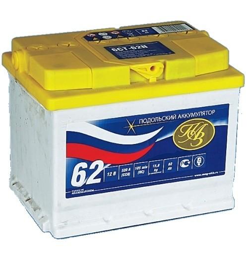 Аккумуляторная батарея 6СТ-62NR Подольские аккумуляторы