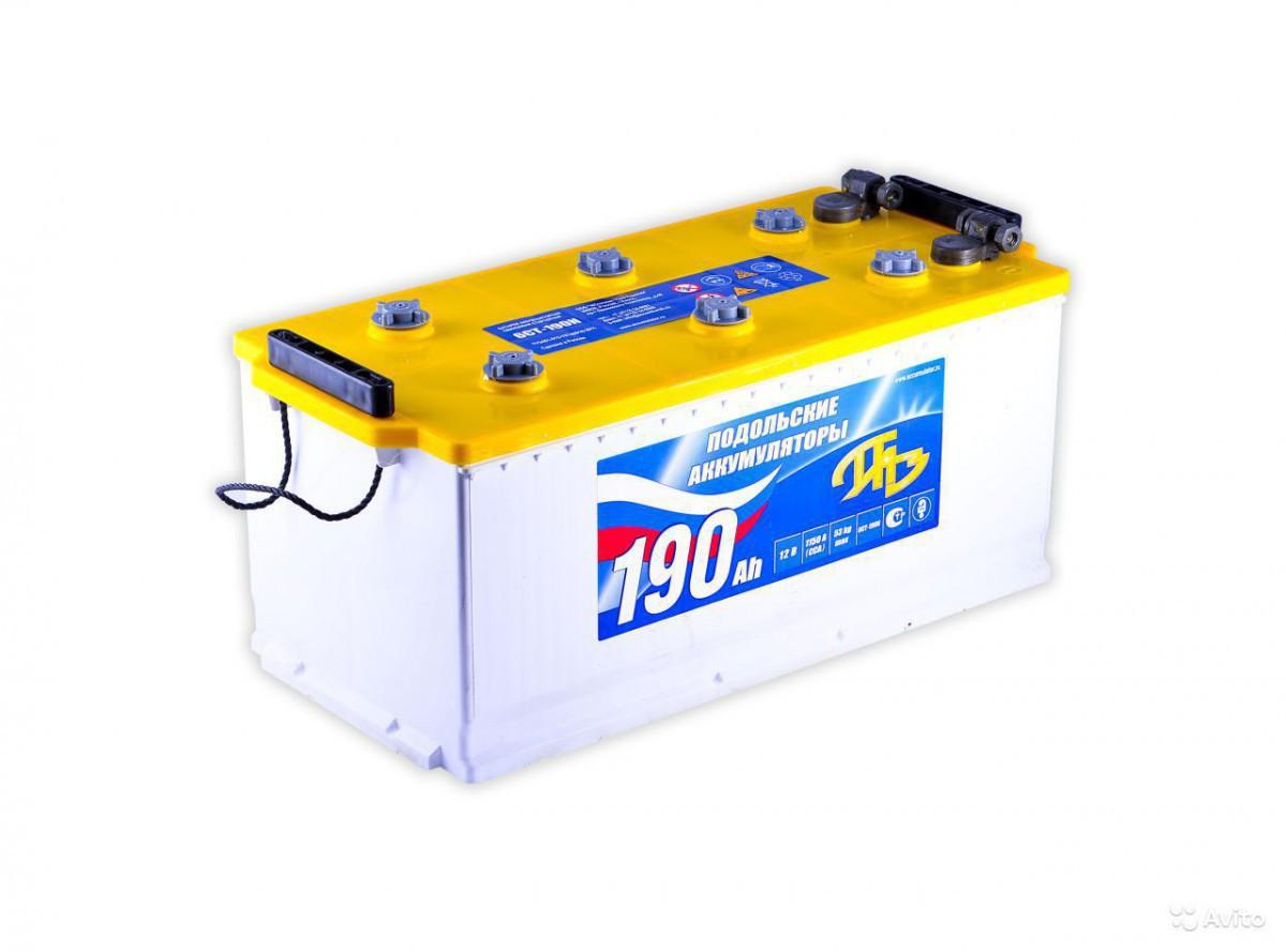 Аккумуляторная батарея 6СТ-190N конус Подольские аккумуляторы